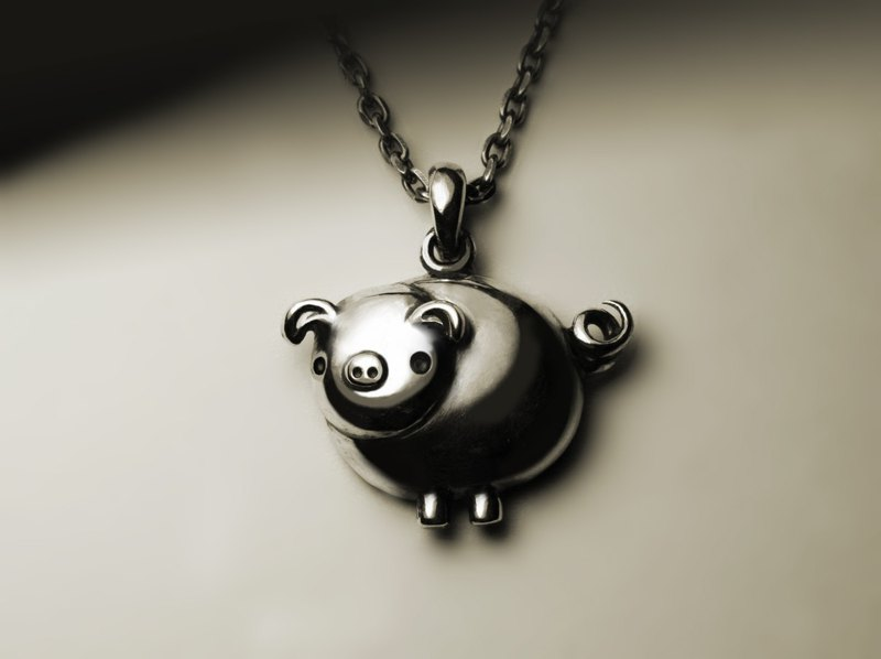 Cute round pig necklace