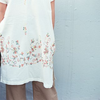 White thin cotton loose long version of the dress imitation embroidery printing side of the open money