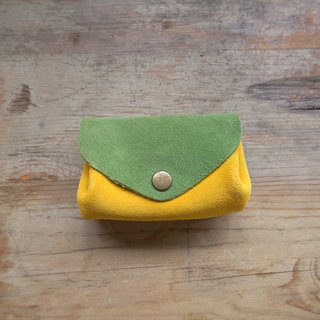 Three-layer Fan Coin Purse / Easy Travel Card Holder - Green Kumquat