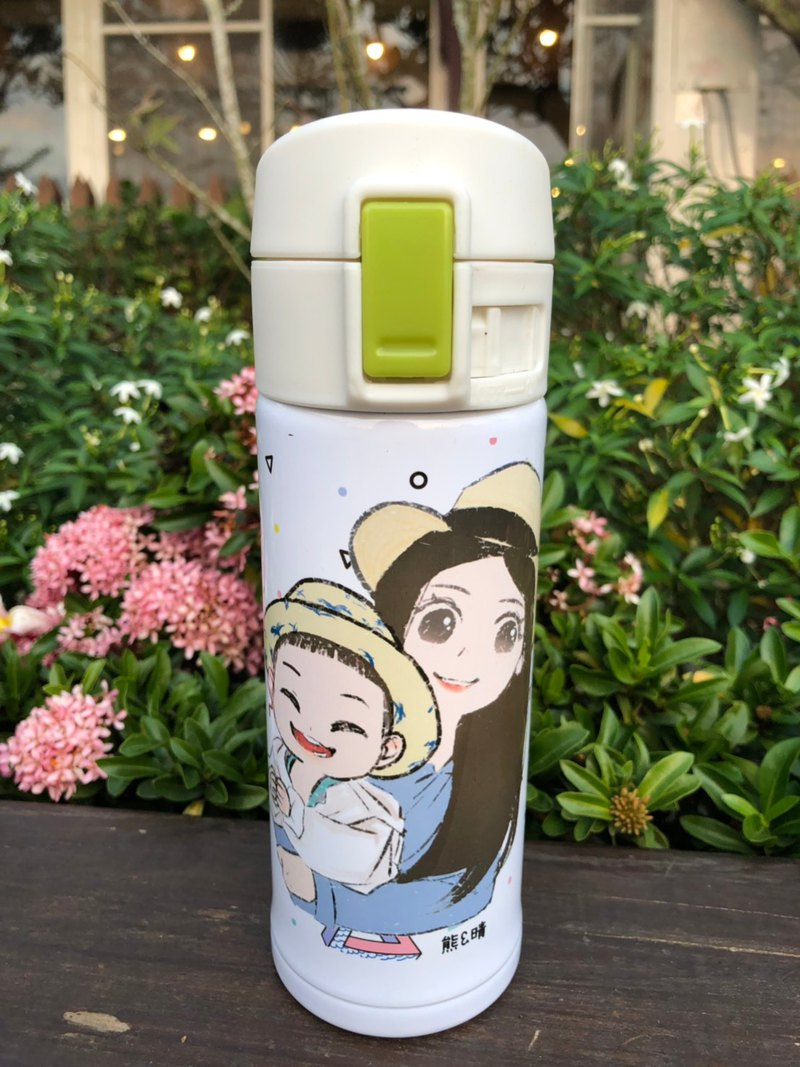 Customized hand-painted [slanted lid thermos] Hand-painted Q version of hand-painted gifts hand-painted portrait commemorative gifts