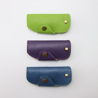 Leather key case (blue/violet/green)/lettering