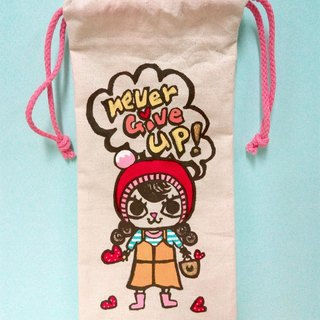 Hand-painted hand-made Never give up Wen Qingmei cat multi-purpose storage cable bag