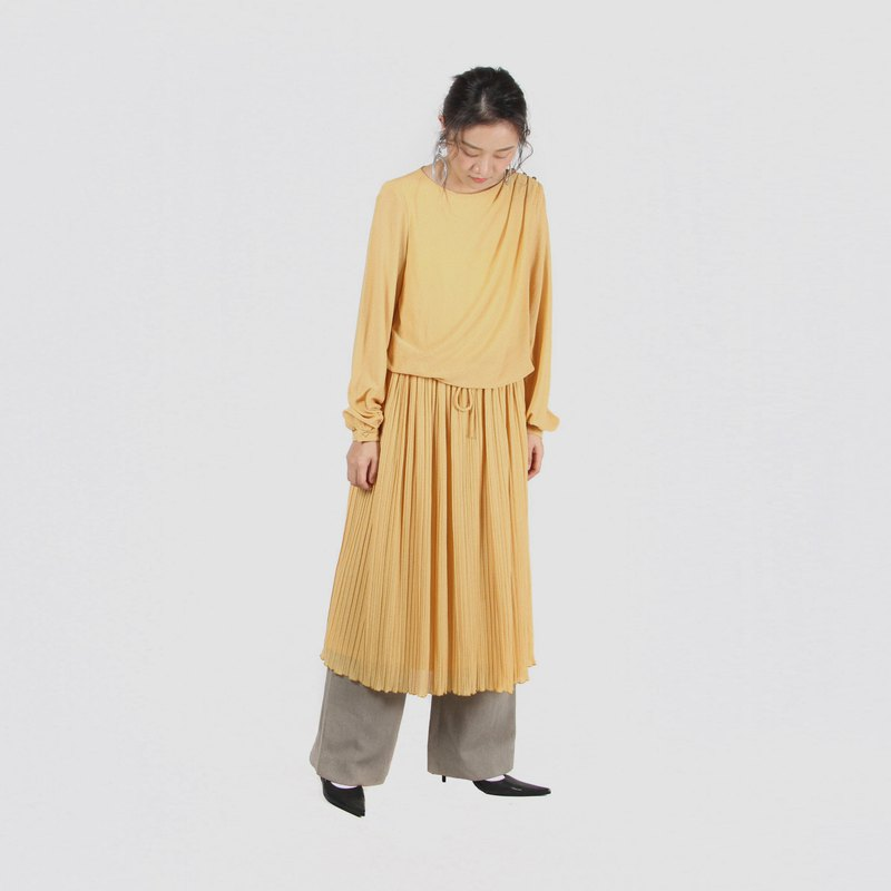 [Egg plant ancient] orange wind pace solid color fake two long-sleeved vintage dress