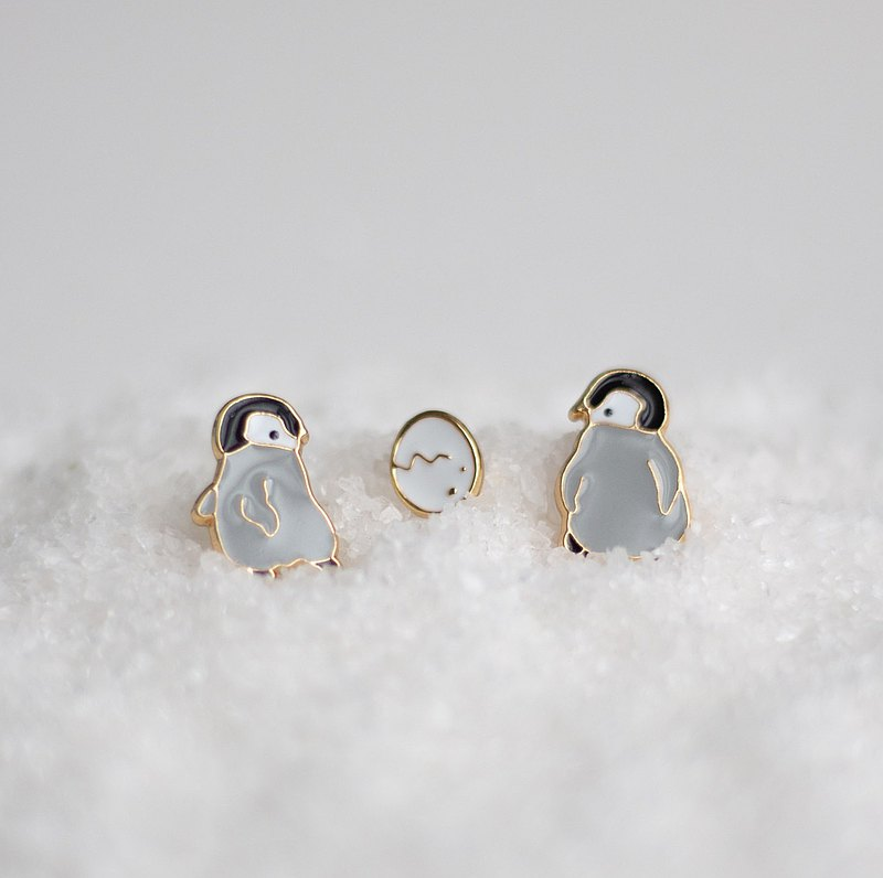 Happy dancing penguin hand made earrings
