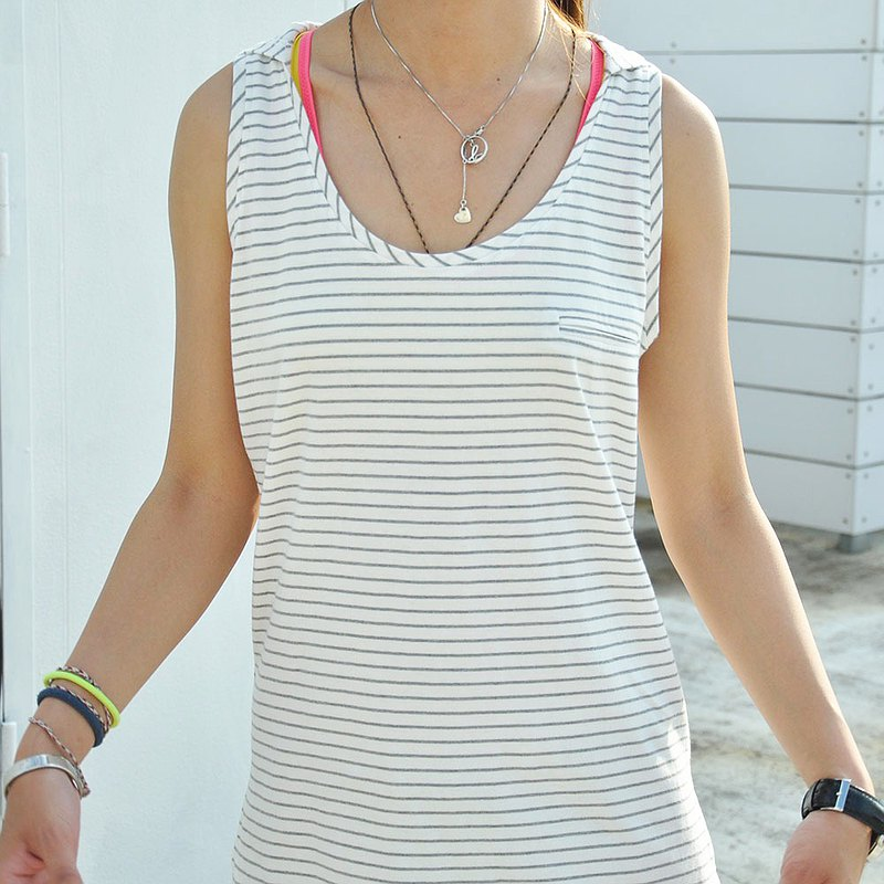 Large round neck cotton hooded embroidered vest hem curved opening long cut shoulder camisole-stripes