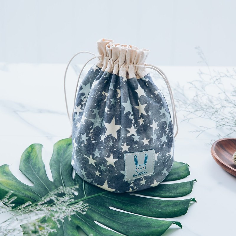 100% cotton shine star bunched shape bucket side backpack