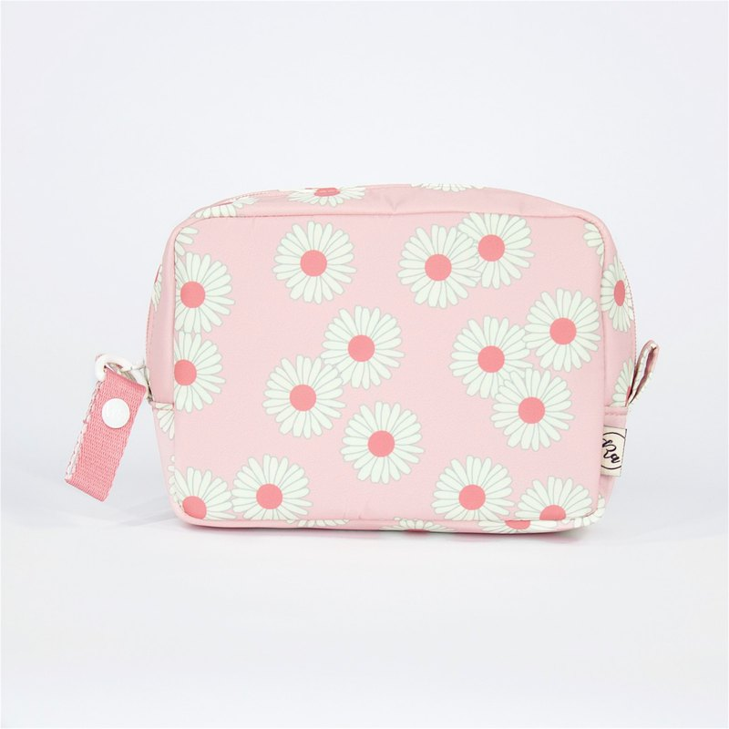 Ra Eco-friendly Super Light Waterproof Floral Cosmetic Pouch (Pink Daisy)