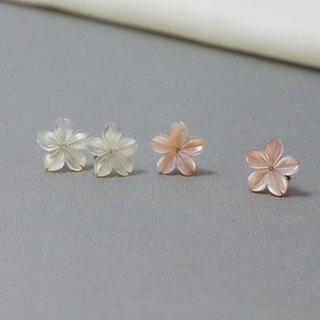 Sakura wine shell carving flower 925 sterling silver ear needle