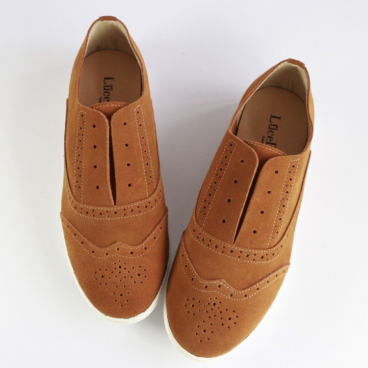 【British adventure】 carved casual shoes - Light brown