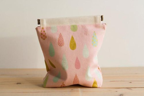 Charger case, Cosmetic pouch, Ditty bag, Make-up Case, Travel pouch / Dew drops pink