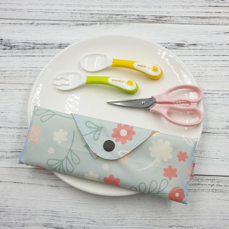 K-17 non-toxic environmental protection tableware bag straw bag baby cutlery bag can hold food scissors can be customized size
