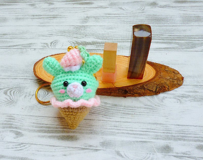 Strawberry Mint Ice Cream Rabbit Seal Mini Gold Key Ring