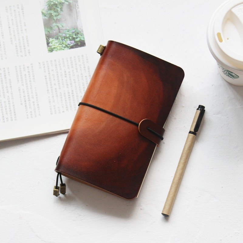 Dark brown smudged handbook leather notebook diary TN travel book can be customized