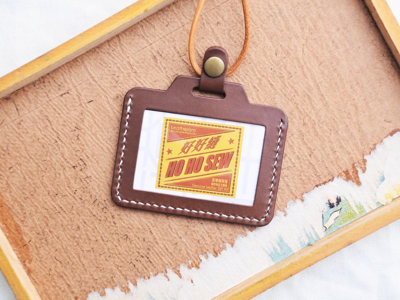 The classic horizontal credential sleeve - dark brown RUSSEL well sew leather material bag free embossing manual bag card holder 咭 咭 folder name card holder simple and practical Italian leather vegetable tanned leather DIY card bag purse folder
