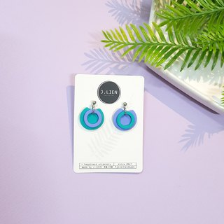Circle ring circle series - concentric circle (the sea) ear needle / ear clip handmade earrings Korea direct