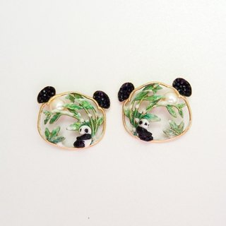 Bamboo under Panda earrings under bamboo of panda pearl pre-order