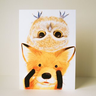 Postcards little fox and owl