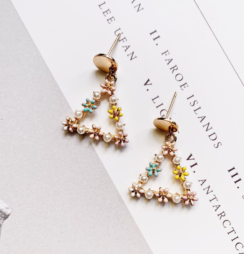 La Don - Ear Drops Earrings - Flower Triangle Earrings