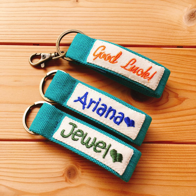 Single-sided*embroidery word canvas key ring with order production*