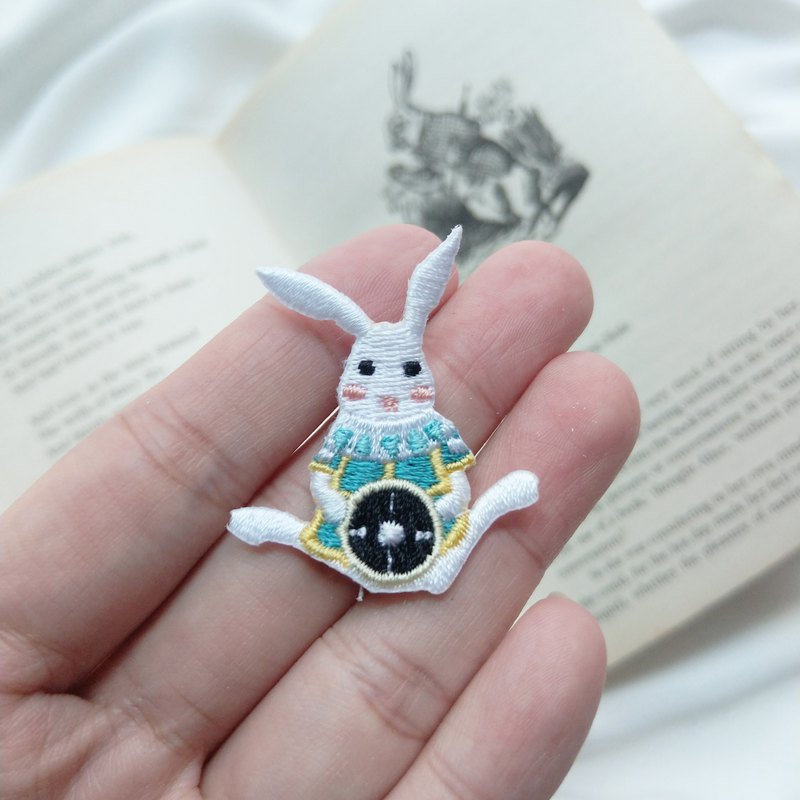 British fairy tale Alice white rabbit embroidery badge / hot stickers