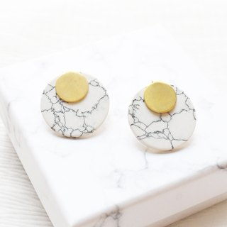 geometry. Brass white turquoise large earrings ear sterling silver