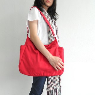 RENEE in Red - Canvas diaper bag , Travel messenger bag , shopping bag - no.101