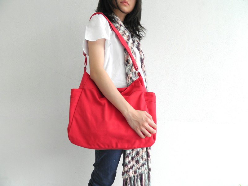 Canvas diaper bag , Travel messenger bag , shopping bag RENEE in Red  - no.101