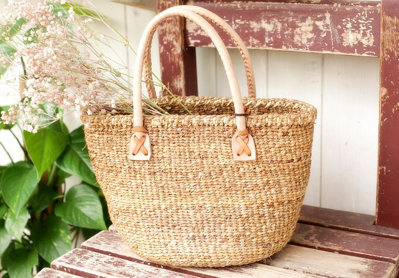[Good] summer day hand-made Japanese straw handbag