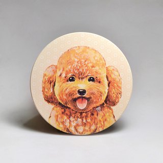 Water-absorbing ceramic coaster - bubble soup poodle (send stickers) (can be purchased custom text)