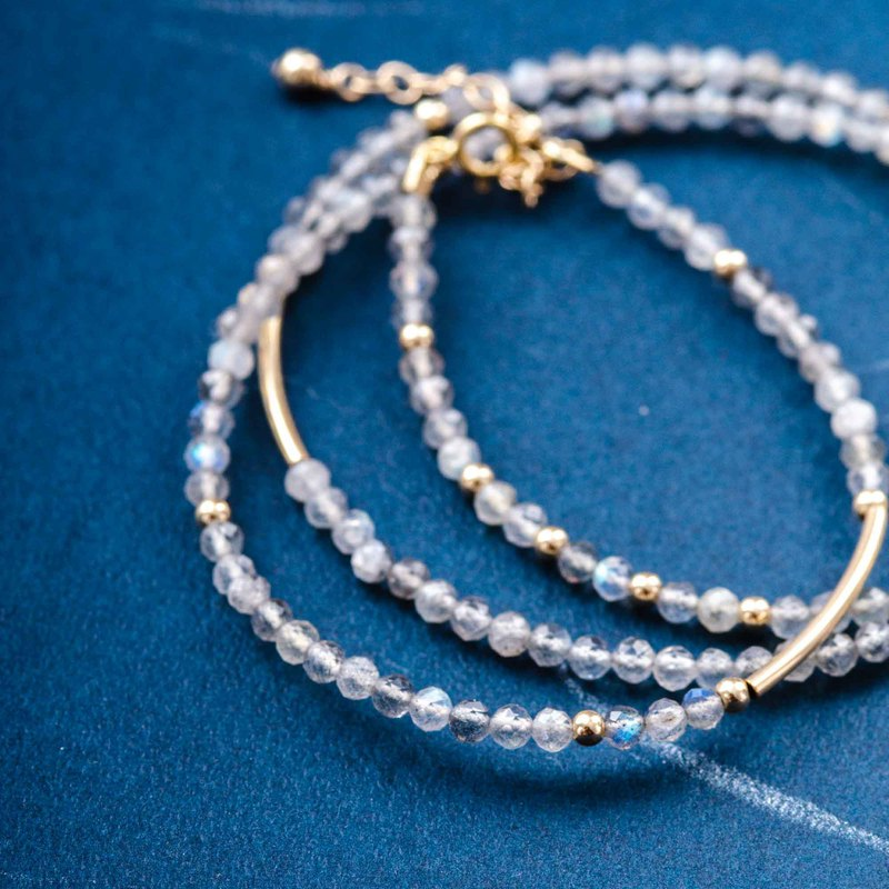 3mm faceted Labradorite, 14K Gold Filled Natural Gemstone Crystal Stack Bracelet