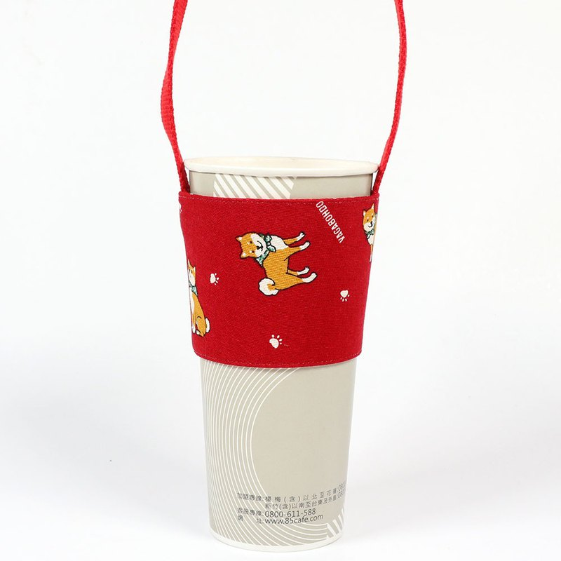 Drink Cup Set Green Cup Set Bag - Little Shiba Inu (Red)