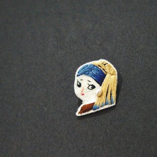 // Zero ► ◄ Portrait of Girl with a Pearl Earring - hand-embroidered pin