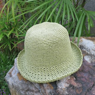 A mother's hand-made hat - summer paper rope cap / simple round cap / mustard green / picnic / gift