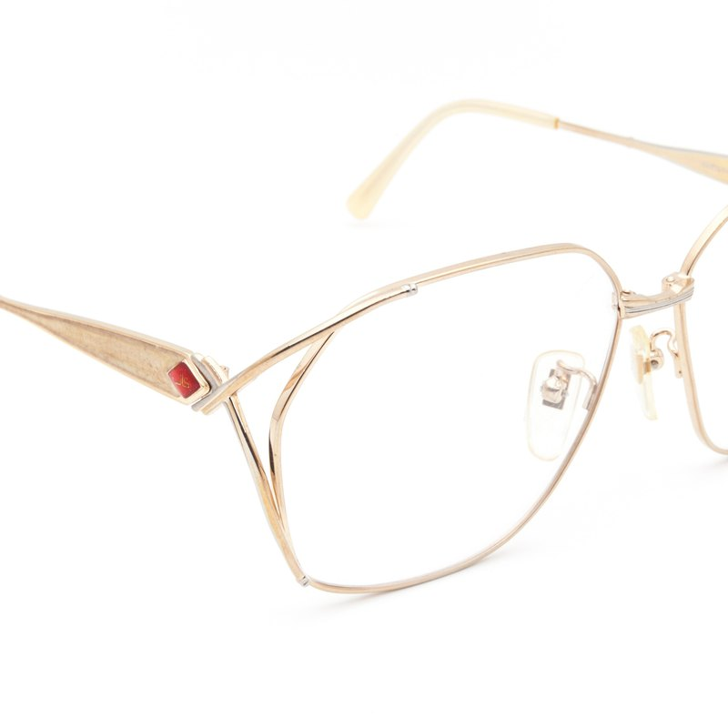 1980's JEAN-LOUIS SCHERRER Senior 珐琅 Big Eye Gold Frame Antique Glasses