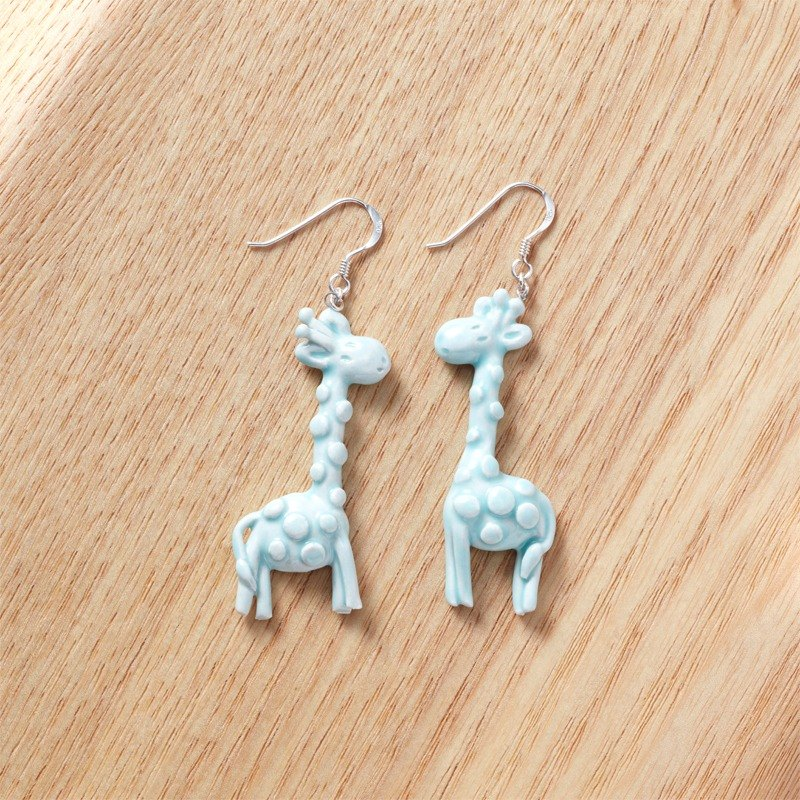Cute Giraffe - handmade white porcelain sterling silver earrings