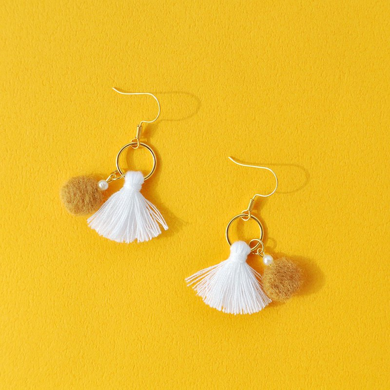 Fringed wool felt earrings