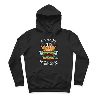 HAMBURGER- Black - Hooded T-Shirt