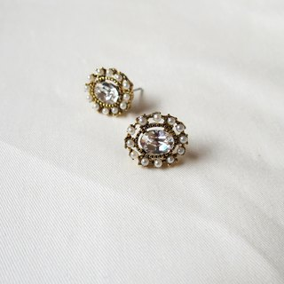 Pearl Flower Disc Swarovski Rhinestone Earrings