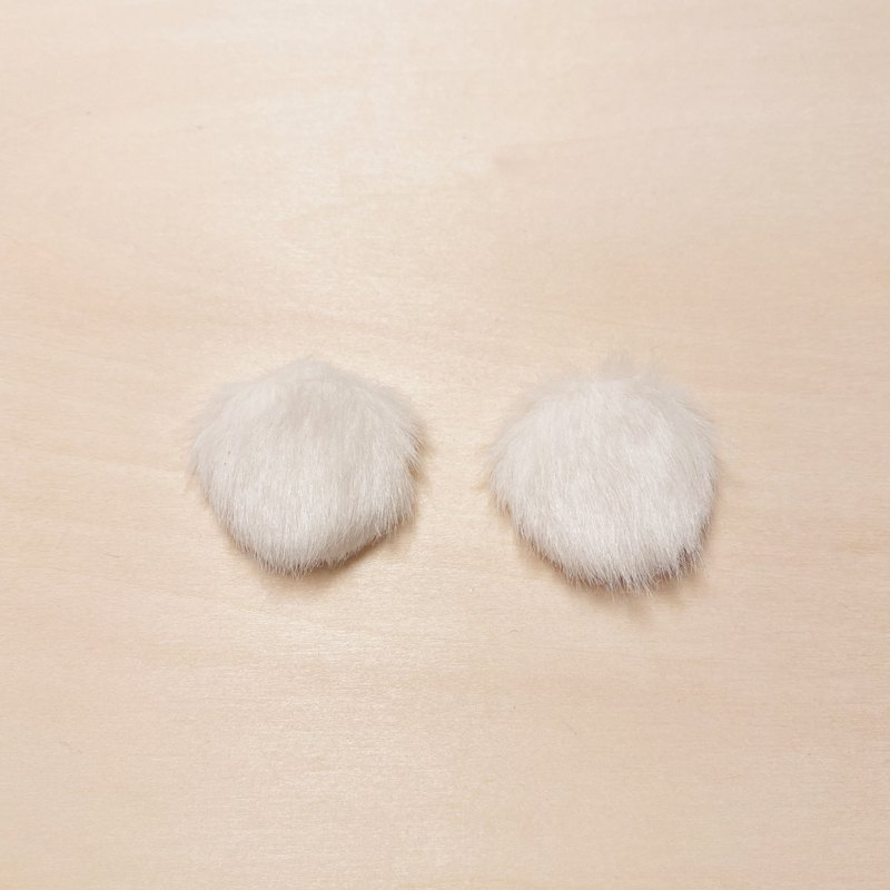 Vintage White Furry Big Meatball Earrings