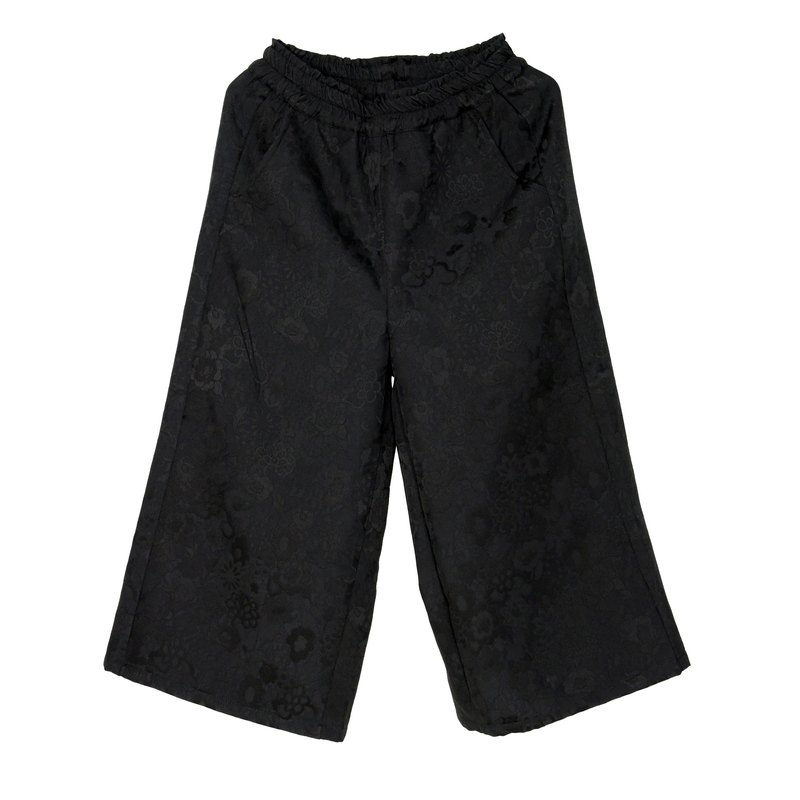 # 015 night garden wide tube Cropped Pants (black)