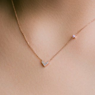 HIWNESS 14K Solid Rose Gold/ Simple Minimalist Rose Gold Necklace/ Dainty Heart