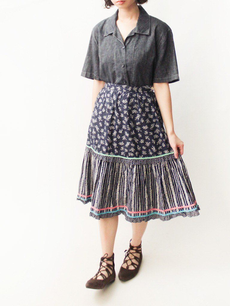 Retro spring and summer European cute ethnic style small floral mosaic dark blue cotton vintage dress