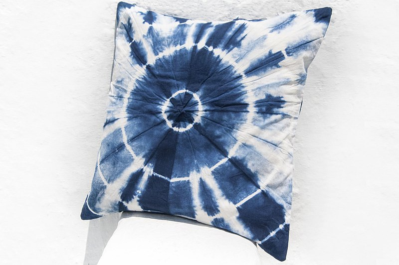 Blue dyed pillow cover / cotton pillow cover / printed pillow cover / indigo blue dyed pillow cover-Blue dyed sun