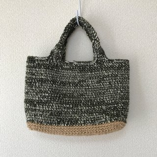 Tote bag ,wool yarn,deep grass color