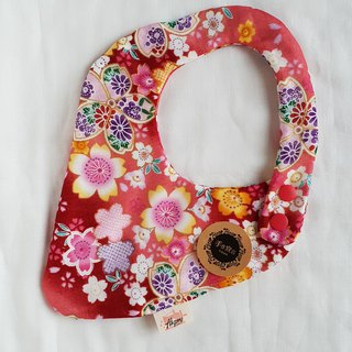And wind cherry blossom - Red - Eight-layer cotton 100%cotton double-sided strawberry bib. Saliva towel
