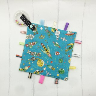 F33-handmade 2 in 1 handbell label appease towel can be used as pacifier chain Japanese double yarn X2 times = 4 layers