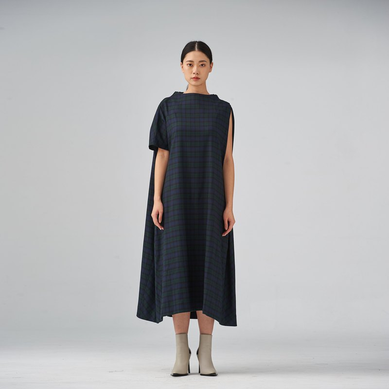 Asymmetric wool-blend midi dress