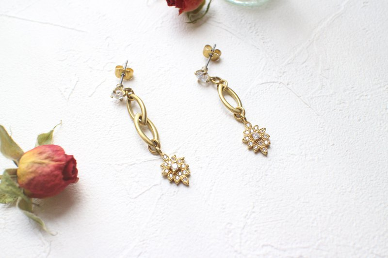 Light-Brass zircon earrings