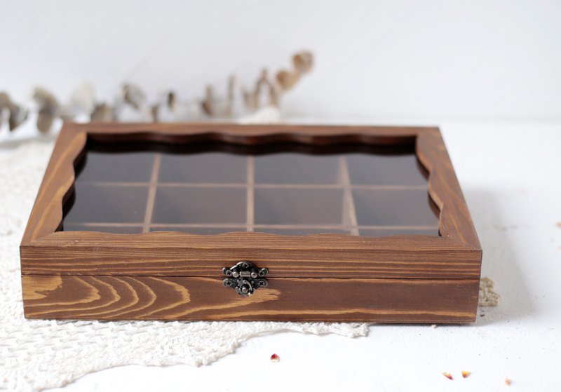 Solid Wood Walnut Color Jewelry Storage Box Gl Wooden Ring Necklace