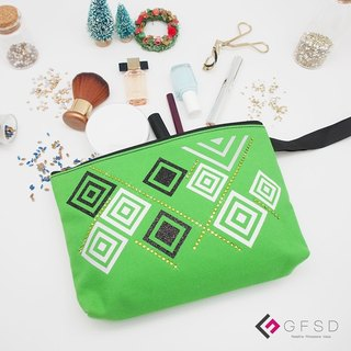 【GFSD】 Rhinestone boutique - simple series - Apple green 【Level】 portable million with cosmetic bag